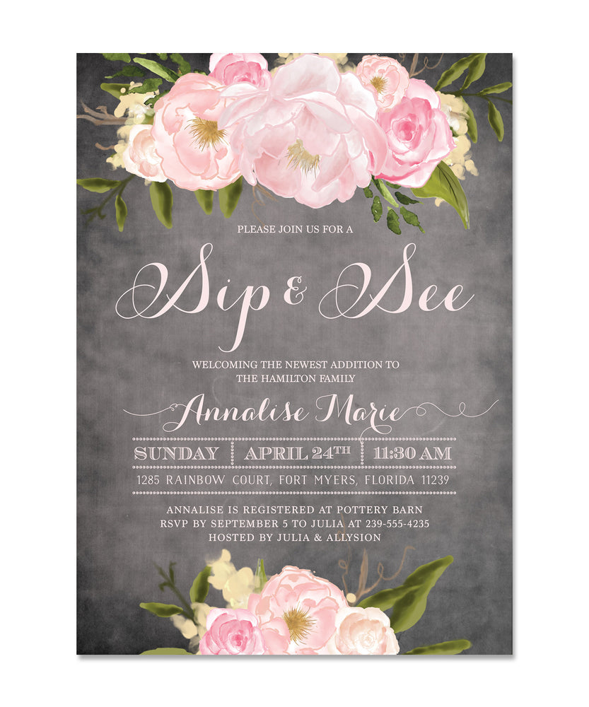 Emily Sip See Invitation Chalkboard Invite With Pink Peonies