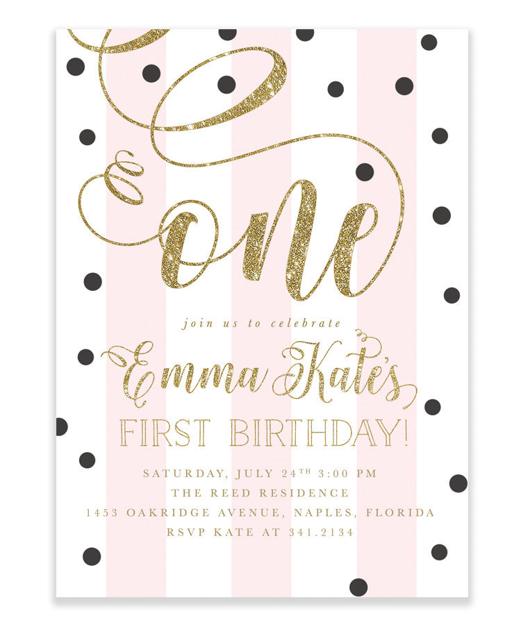 First Birthday Invitation Girl Pink Black Gold White