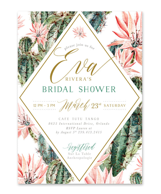 Eva: Floral & Cactus Bridal Shower Invitation