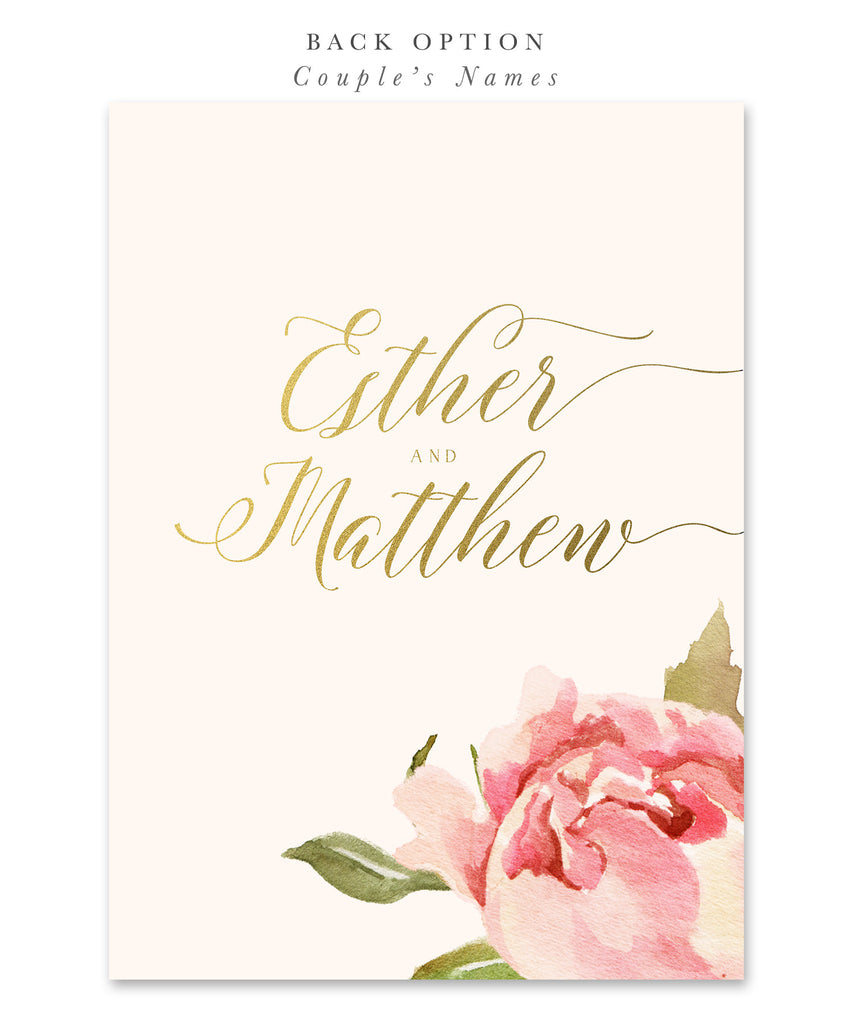 Everly: Bridal Shower Invitation, Pink Watercolor Roses & Gold