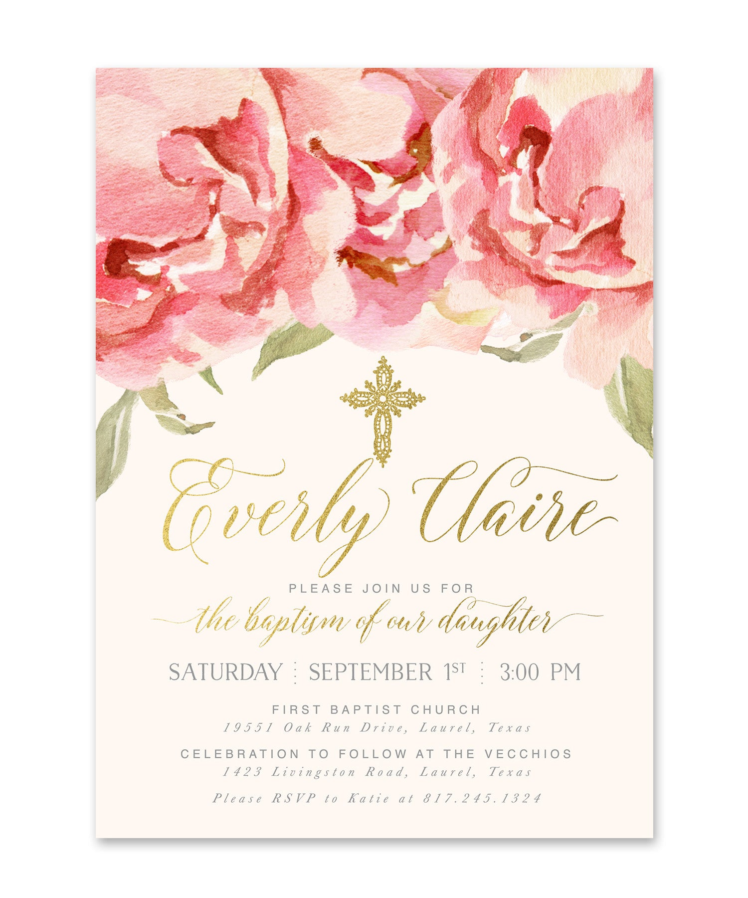 Everly: Girl\'s Baptism Invitation, Pink Watercolor Roses & Gold ...