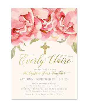 Everly: Girl's Baptism Invitation, Pink Watercolor Roses & Gold