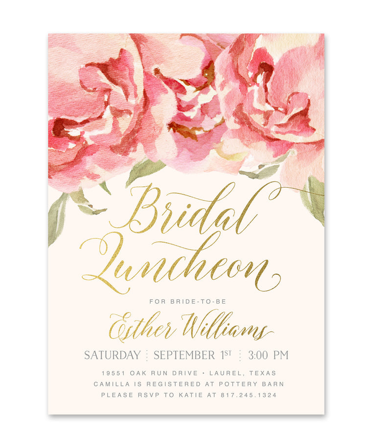 Everly: Bridal Shower Luncheon Invitation, Pink Roses & Gold