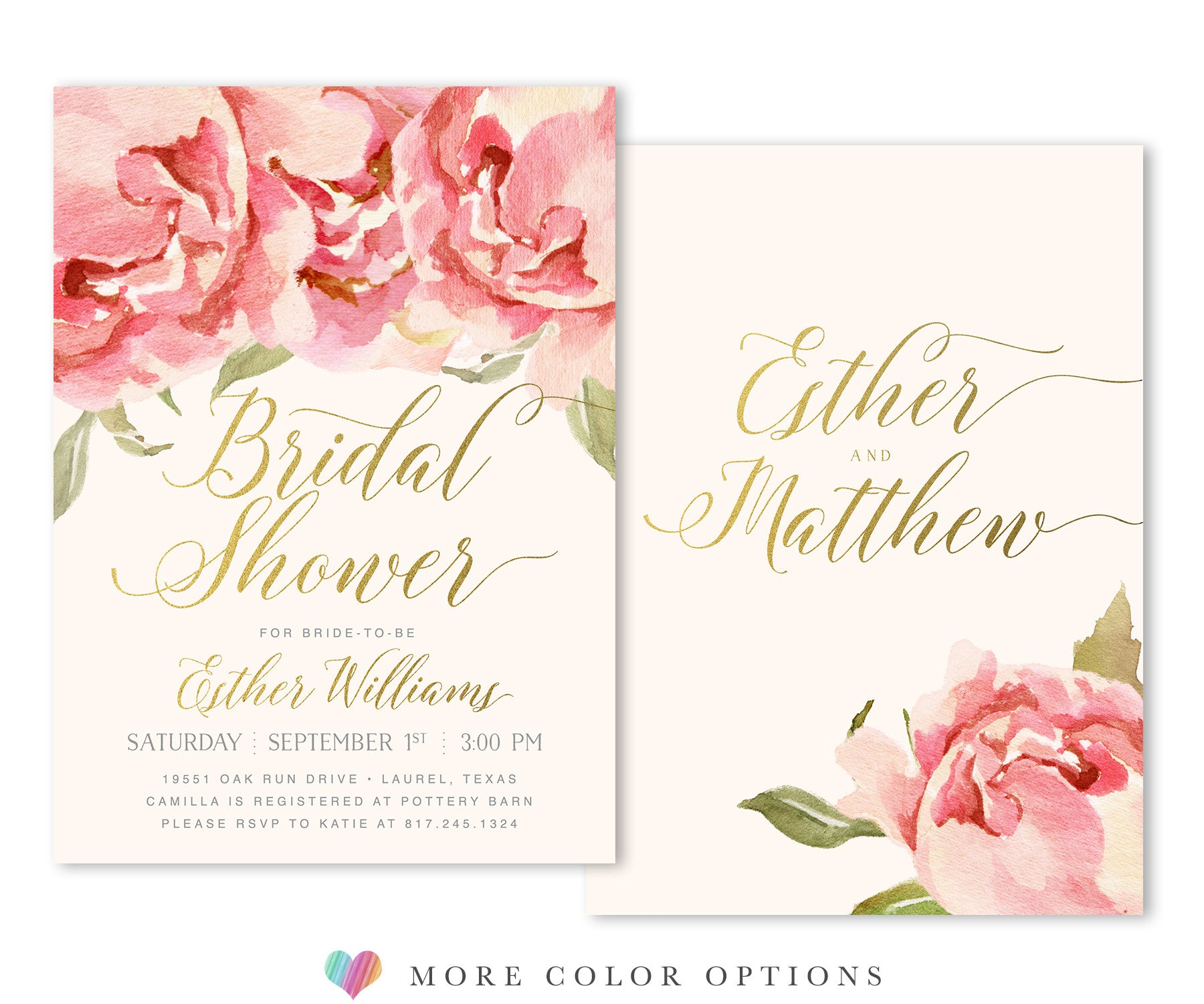 Everly: Bridal Shower Invitation, Pink Watercolor Roses & Gold - Sea ...