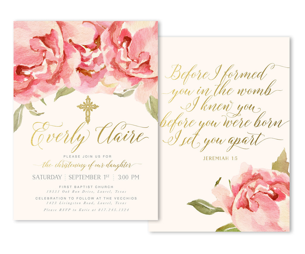 Everly: Girl's Christening Invitation, Pink Roses & Gold