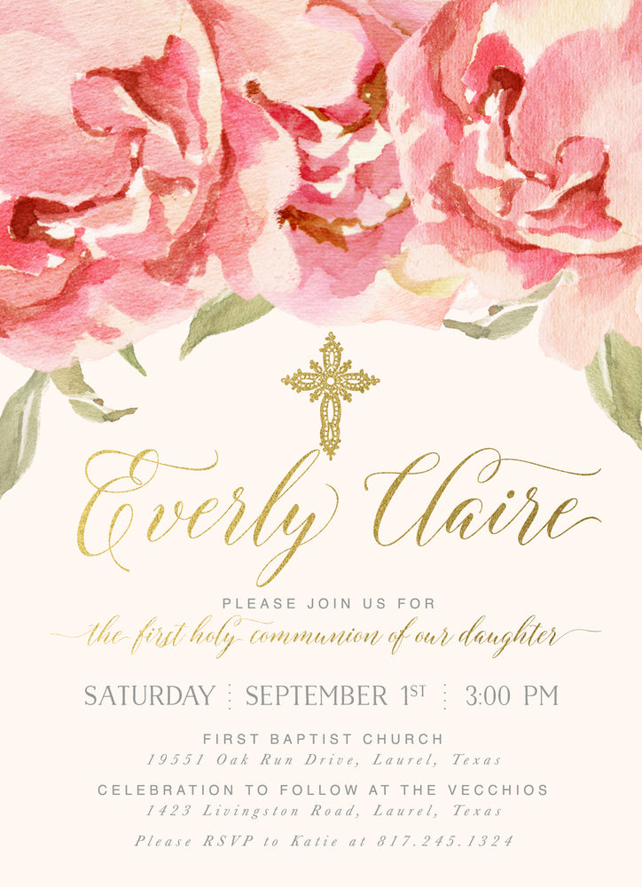 Everly: Girl's First Holy Communion Invitation, Pink Watercolor Roses & Gold