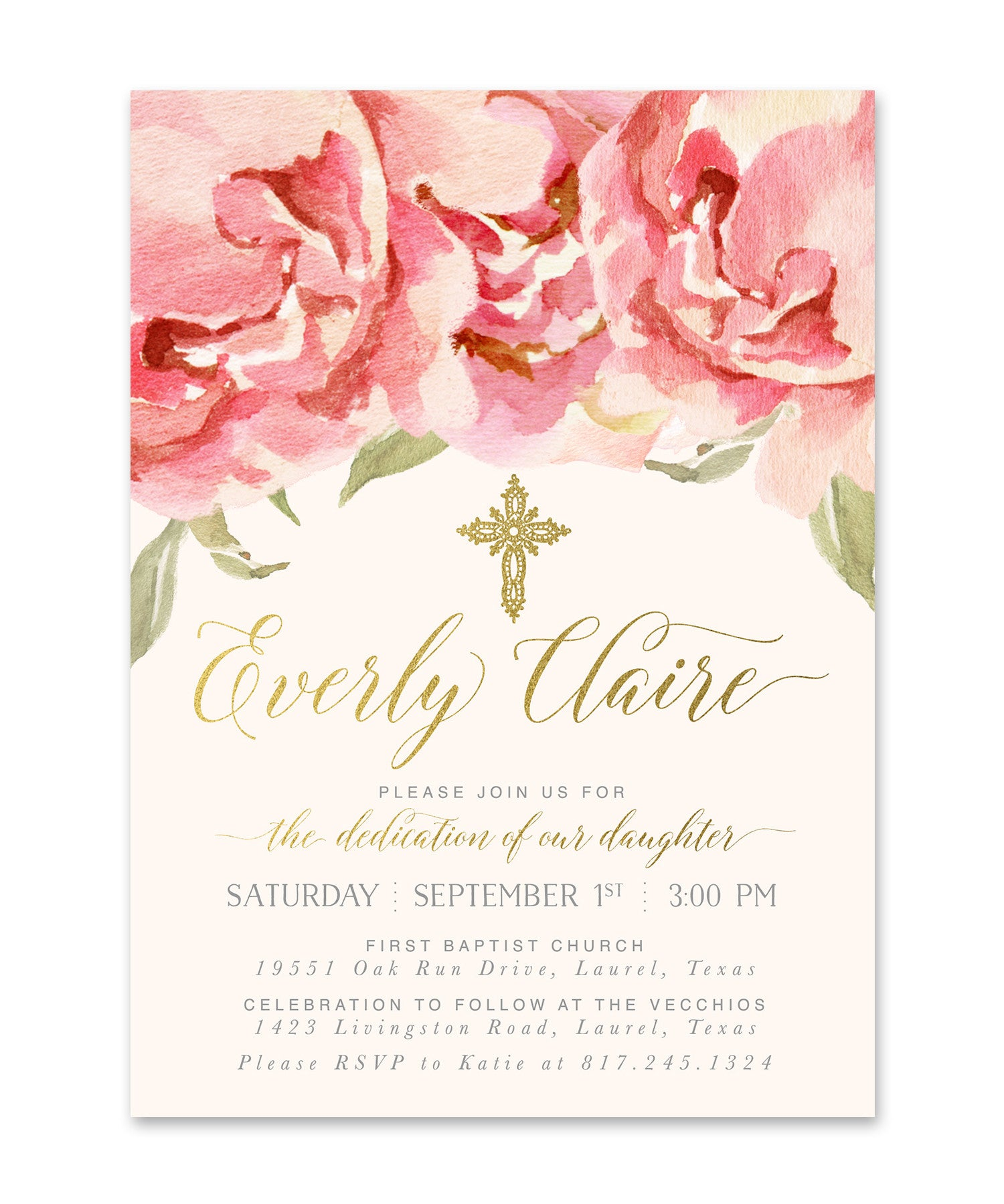 everly baby girl dedication invitation pink roses gold sea
