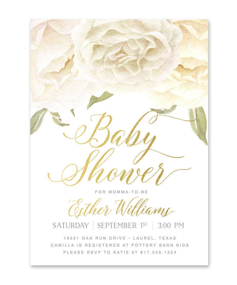 Everly: Baby Girl, Boy or Twins Shower Invitation, White Roses & Gold