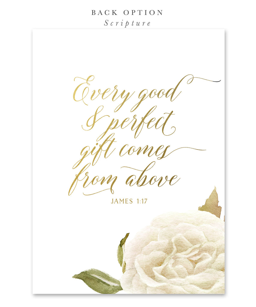 Everly: Boy or Girl's First Holy Communion Invitation, White Watercolor Roses & Gold