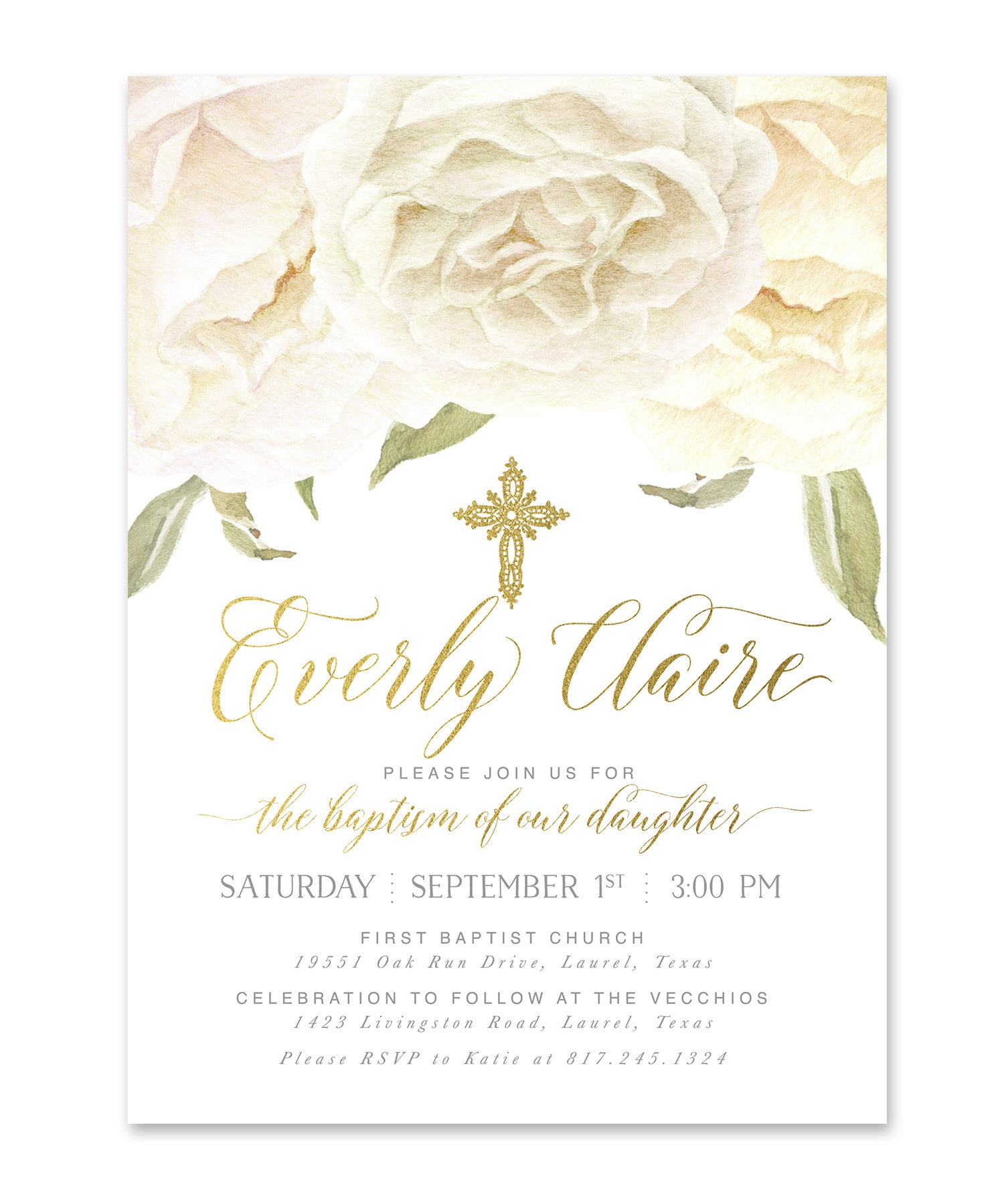 everly girl boy or twins baptism invitation white roses gold