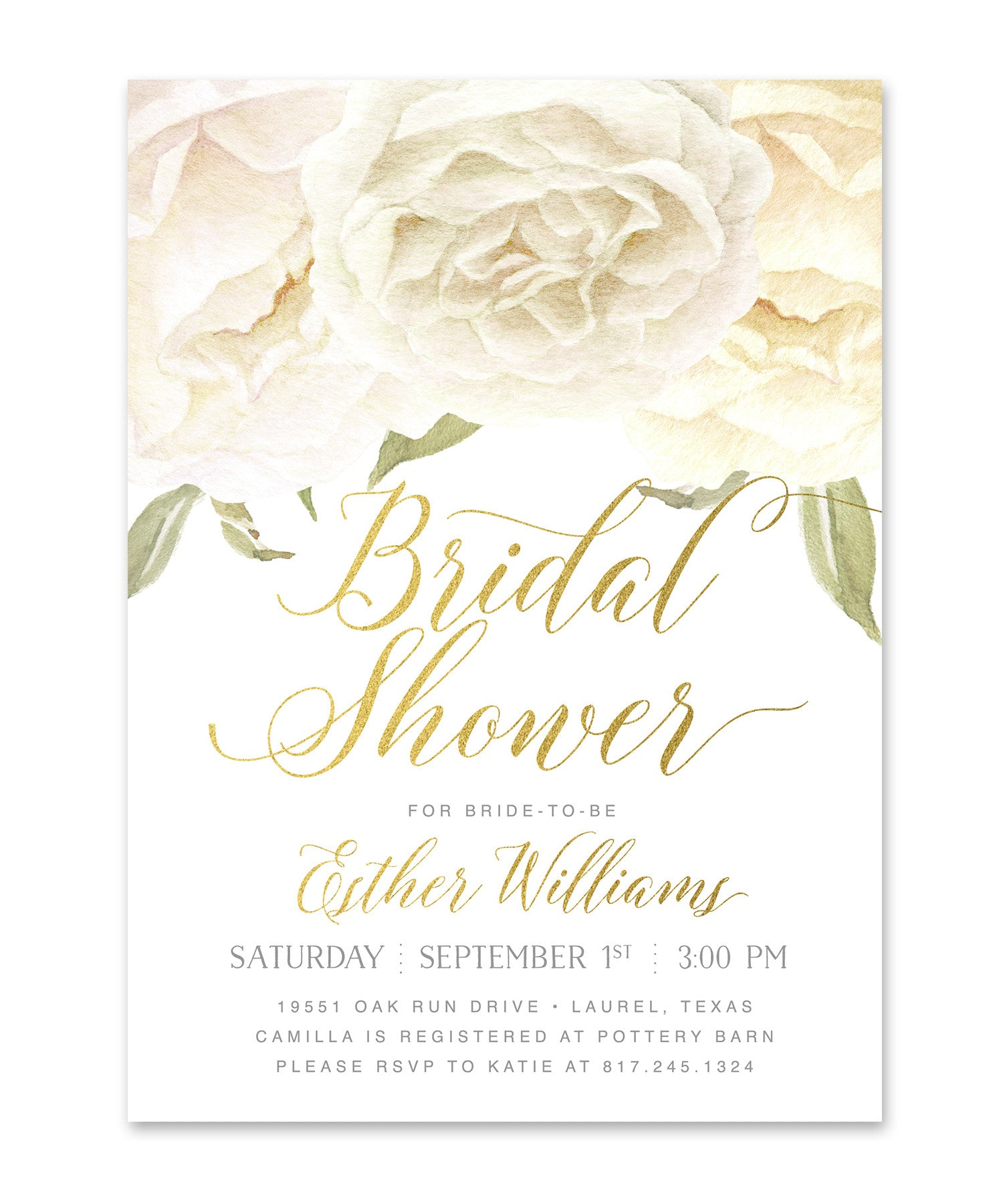 ... Everly: Bridal Shower Invitation, White Roses U0026 Gold ...