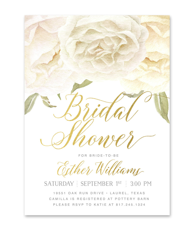 Everly: Bridal Shower Invitation, White Roses & Gold