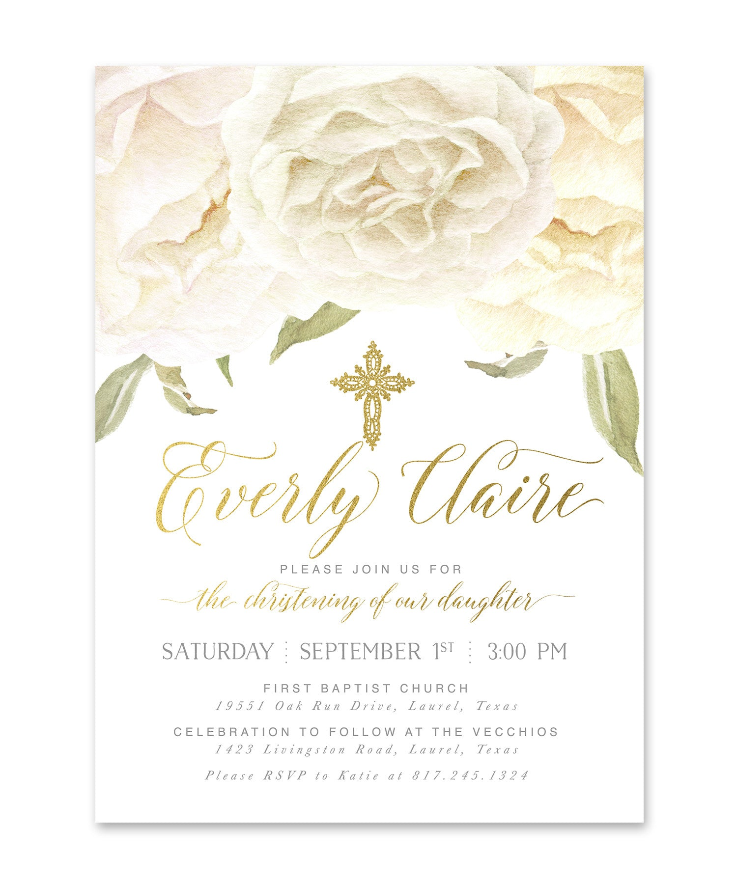 everly boy girl or twins christening invitation white roses