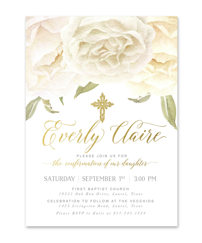 Everly: Boy, Girl or Twin's Confirmation Invitation, White Roses & Gold