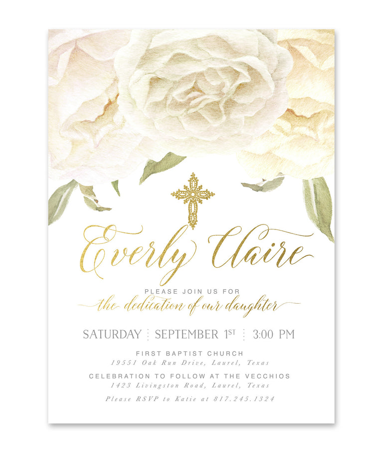 Everly: Baby Girl, boy or twins Dedication Invitation, White Roses & Gold