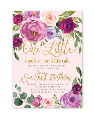 Evie: One Little Candle, 1st Birthday Party Invitation {Pink}