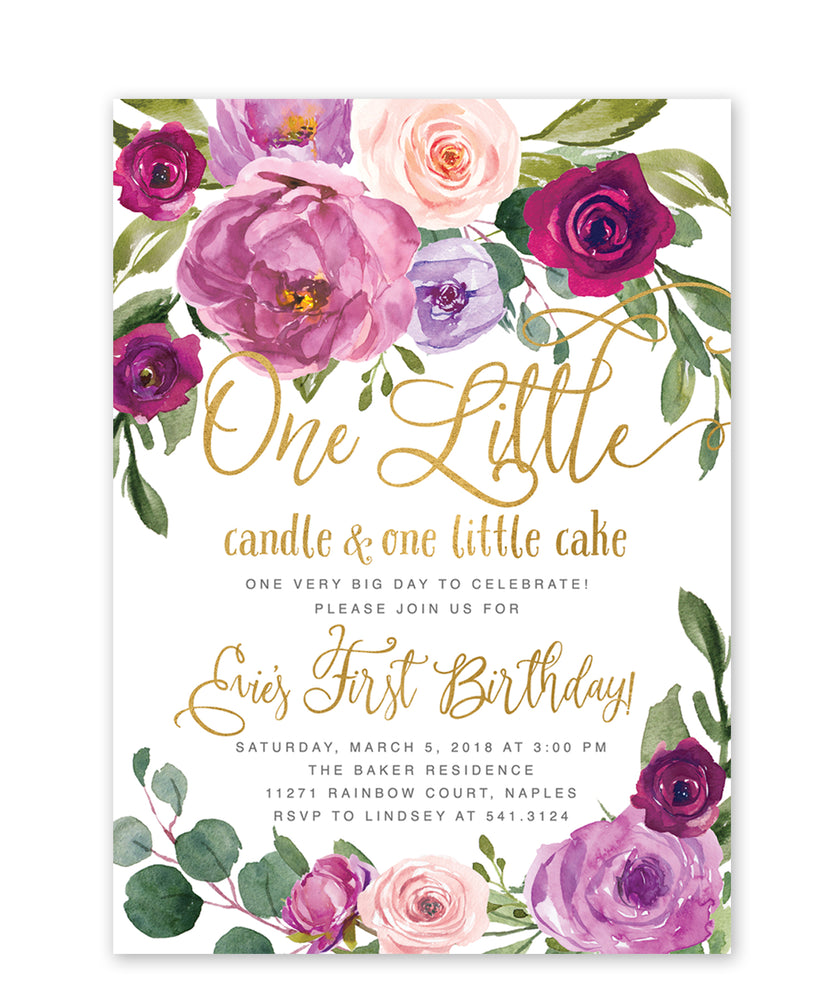 Evie: One Little Candle, 1st Birthday Invitation {White}