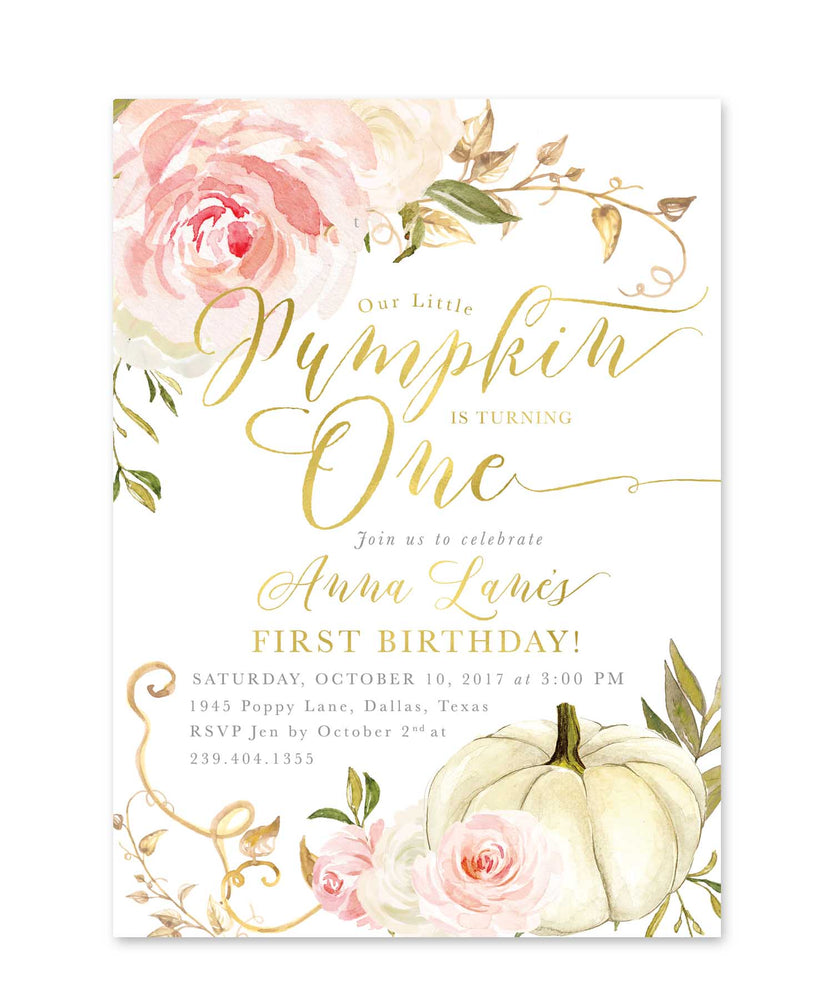 Fall 2: Little Pumpkin is One, Birthday Invitation {Pink}