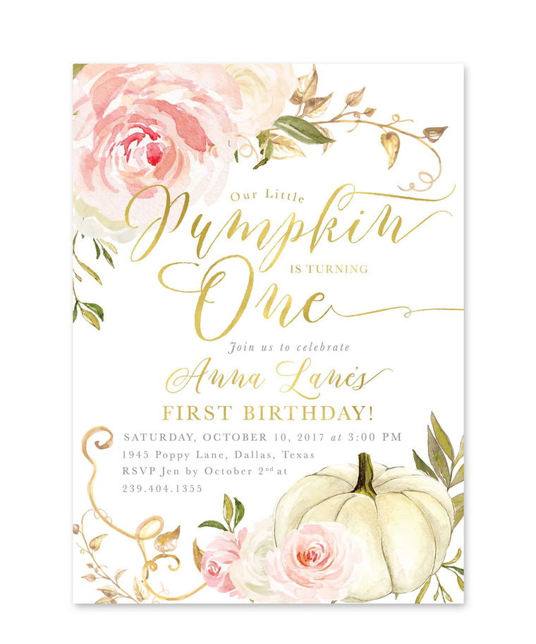 Fall Girl Birthday Invitation, Our Little Pumpkin is Turning One, Girl First Birthday Party, Any Age Pink Roses, Printed Printable - Fall 11
