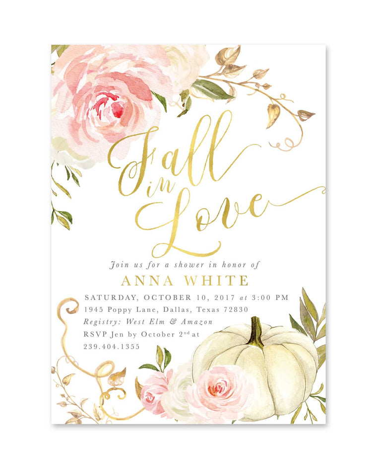 Fall Bridal Shower Invitation: Fall in Love, Autumn Bridal Shower Invite, White Pumpkin & Pink Roses, Printed or Printable - Fall 11