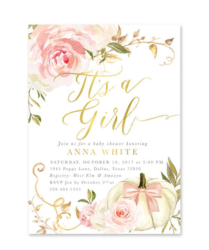 "Fall 11: ""It's a Girl"" Baby Shower Invitation {Pink}"