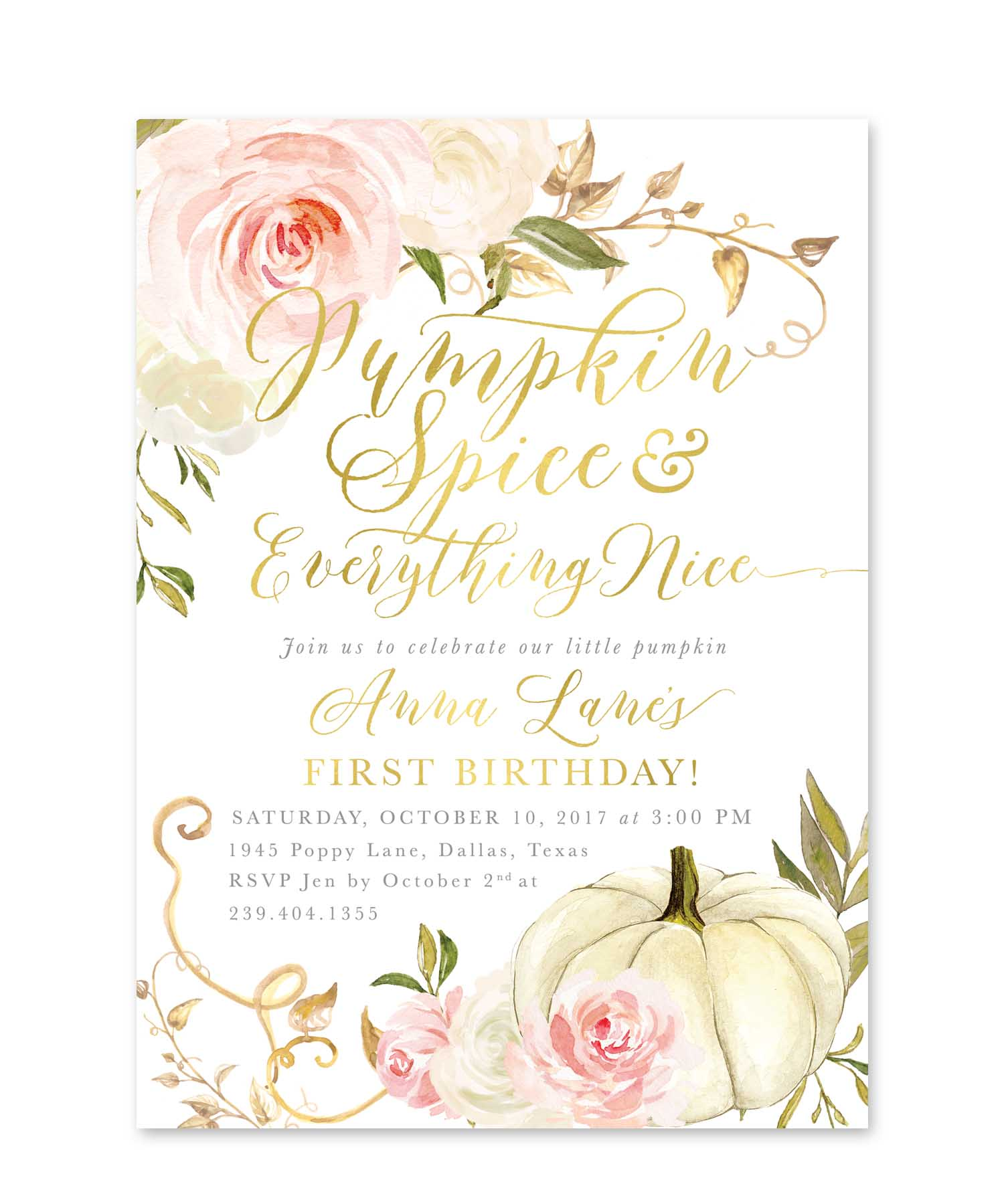 Pumpkin spice everything nice birthday invitation fall girl pumpkin spice everything nice birthday invitation fall girl birthday invite girl first birthday party any age pink roses fall 11 filmwisefo