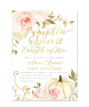 Fall 11: Pumpkin Spice & Everything Nice, Birthday Invitation {pink}