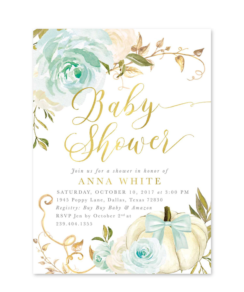 Fall 12: Fall Baby Shower Invitation {Blue}