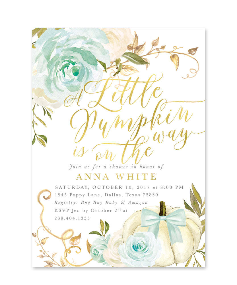 Fall 12: Little Pumpkin On the Way, Baby Shower Invitation {Blue}
