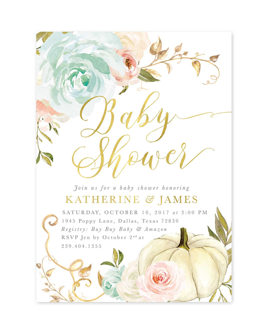 Fall Baby Shower Invitation, Pumpkin Baby Shower Invite, Boy Baby Shower, Girl Baby Shower, White Pumpkin, Pink & Blue Roses - Fall 13