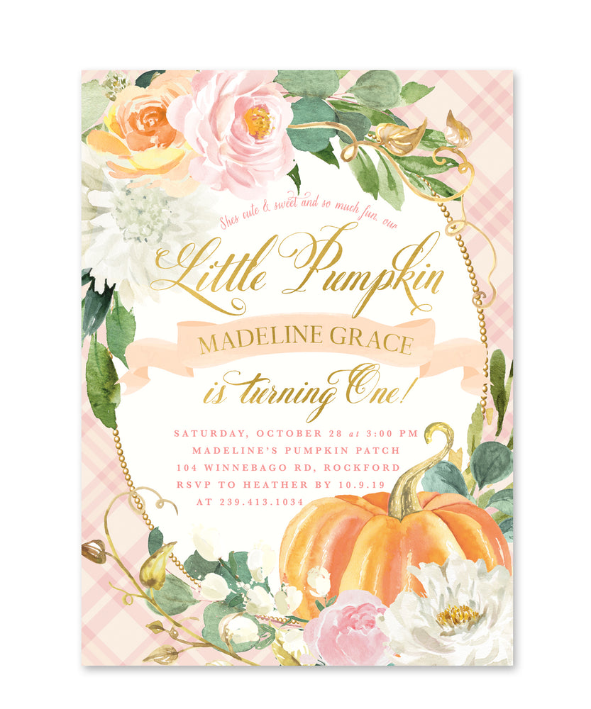 Pink & Orange Pumpkin First Birthday Invitation