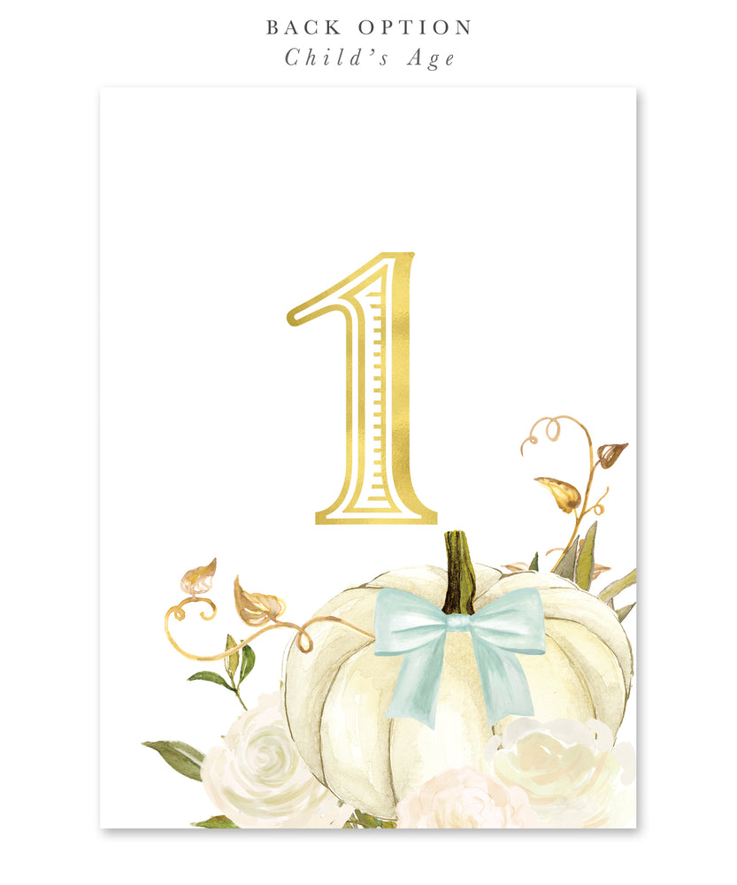Fall 2: Our Little Pumpkin is Turning One, Birthday Invitation {White, Blue}