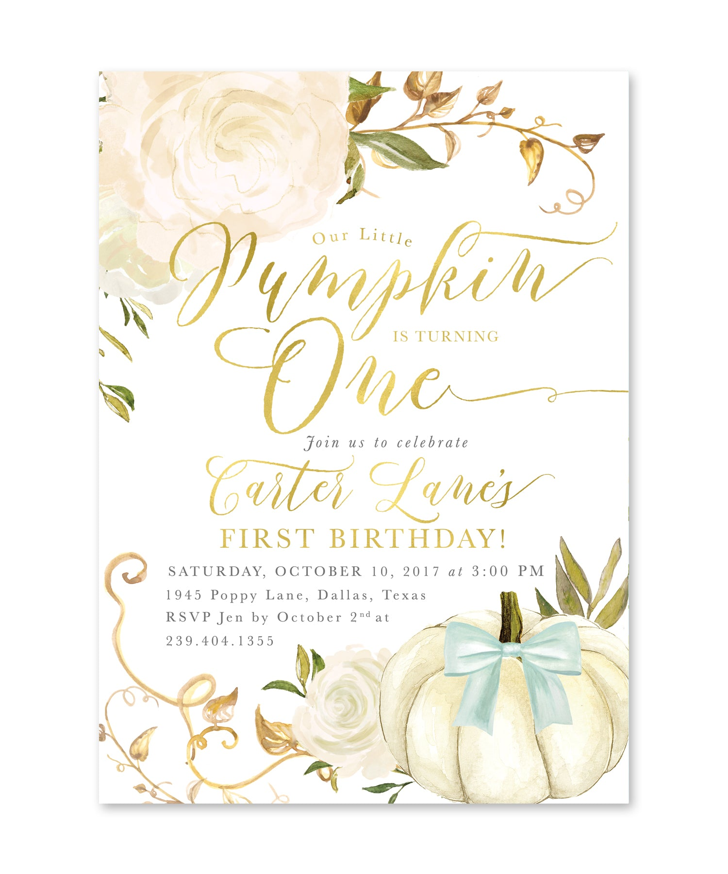 Fall 2 Our Little Pumpkin Is Turning One Birthday Invitation