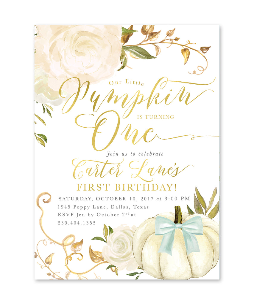 Fall Boy Birthday Invitation, Our Little Pumpkin is Turning One, Boy First Birthday Party, Any Age White Rose, Printed Printable - Fall 2