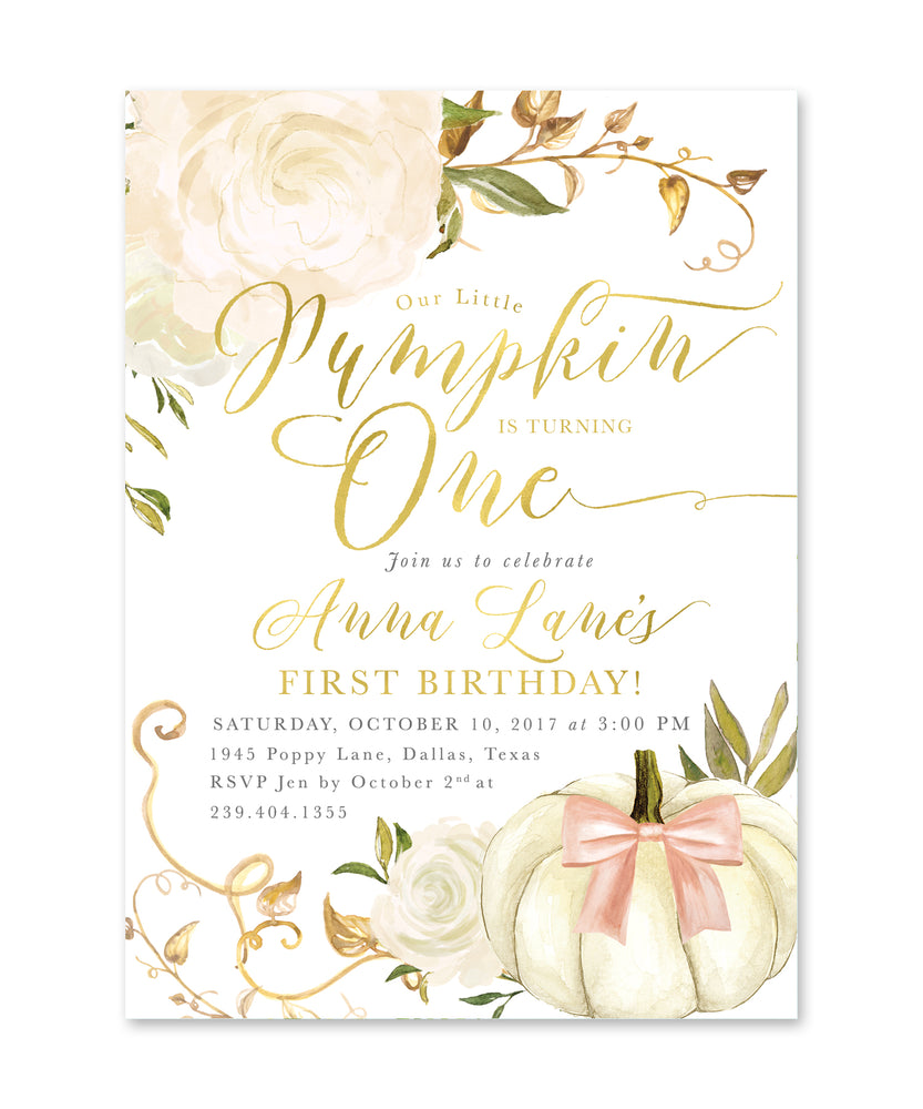 Fall 2: Little Pumpkin is Turning One, Birthday Invitation {white}