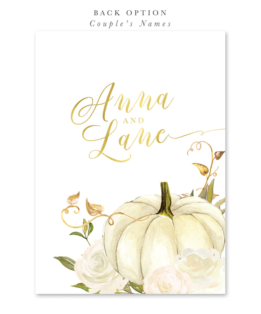Fall 2: Pumpkin Bridal Shower Invitation {White}