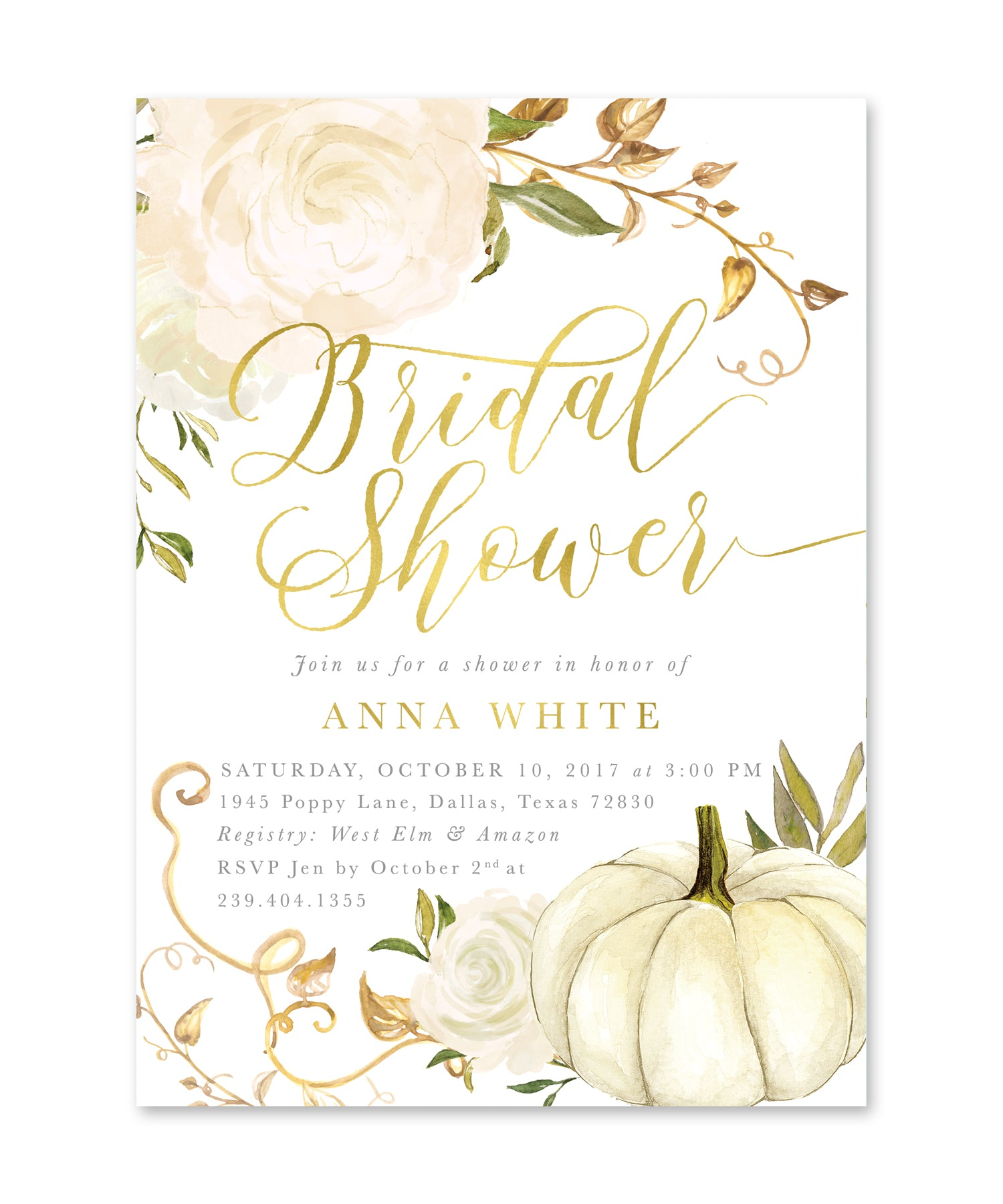 Fall bridal shower invitation autumn bridal shower invite white fall bridal shower invitation autumn bridal shower invite white pumpkin gold white roses printed or printable fall 2 filmwisefo