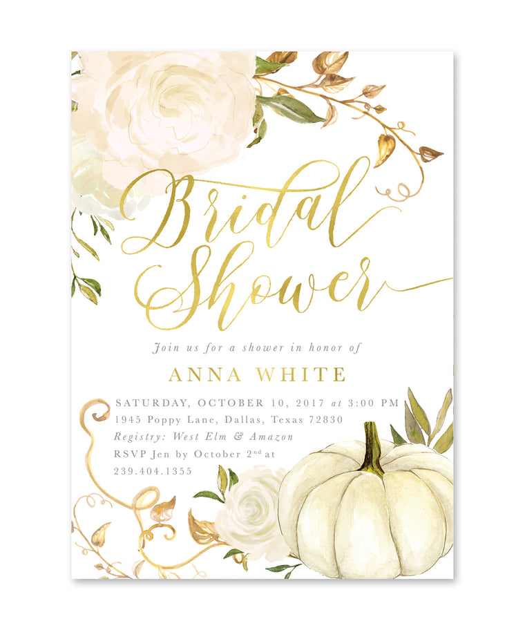 Fall Bridal Shower Invitation: Autumn Bridal Shower Invite, White Pumpkin, Gold & White Roses, Printed or Printable - Fall 2