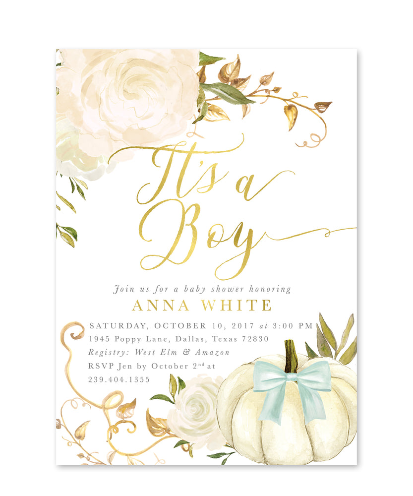 "Fall 2: ""It's a Boy! Pumpkin Baby Shower Invitation {White, Blue}"