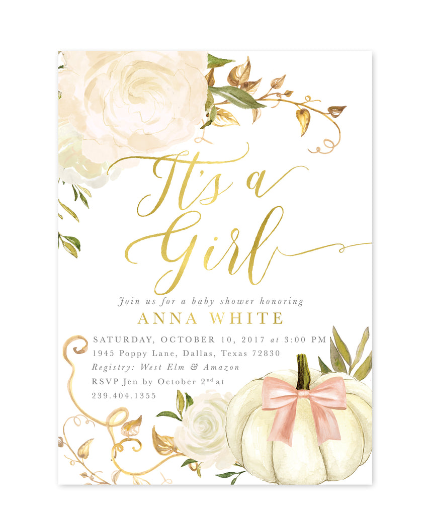Fall Girl Baby Shower Invitation, Girl Pumpkin Baby Shower Invite, It's a Girl Invitation, Autumn White Roses, Printed / Printable - Fall 2