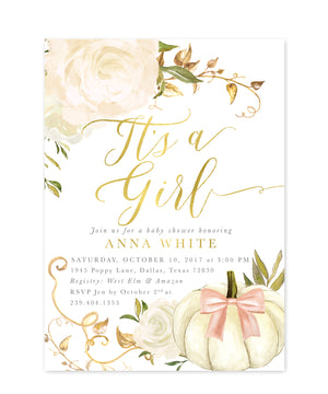 "Fall 2: ""It's a Girl"" Baby Shower Invitation {white & pink}"