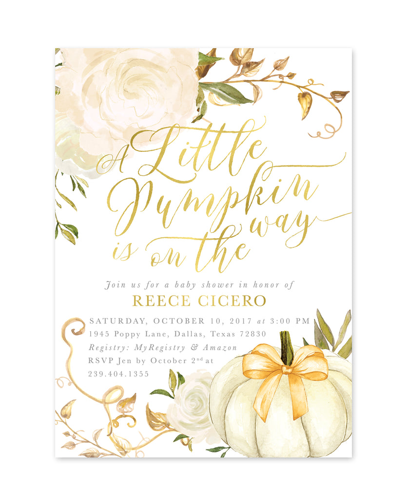 Fall 2: A Little Pumpkin is On the Way Baby Shower Invite
