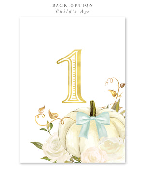 Fall 2: Pumpkin Spice & Everything Nice, Birthday Invitation {white & blue}