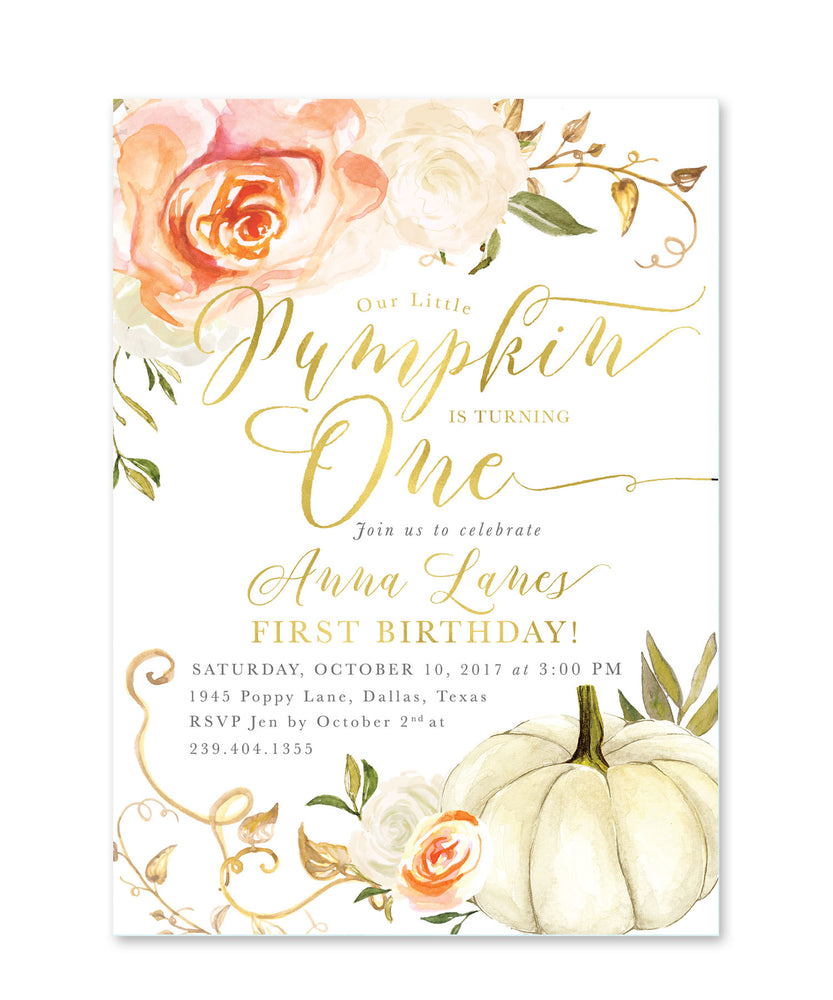 Fall 3: Little Pumpkin is Turning One, 1st Birthday Invitation {Orange}
