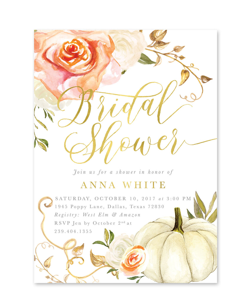 Fall Bridal Shower Invitation: Autumn Bridal Shower Invite, White Pumpkin, Gold, Orange & White Roses, Printed or Printable - Fall 3