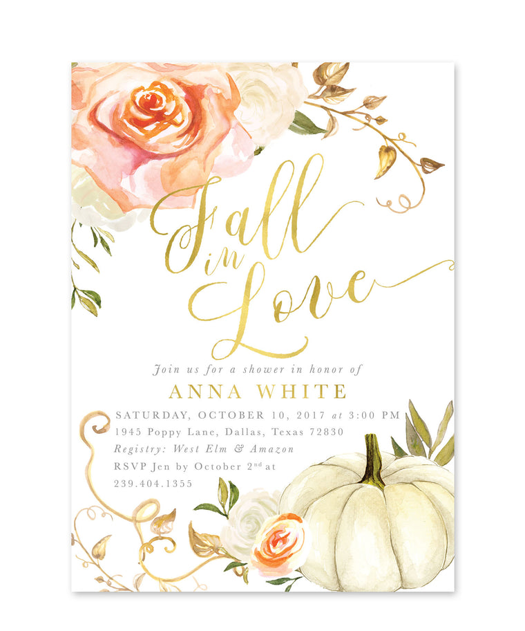 Fall Bridal Shower Invitation: Fall in Love, Autumn Bridal Shower Invite, Pumpkin, Orange & White Roses, Printed Printable - Design Fall 3