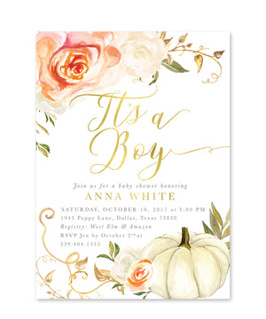 "Fall 3: ""It's a Boy"" Pumpkin Baby Shower Invitation {Orange}"