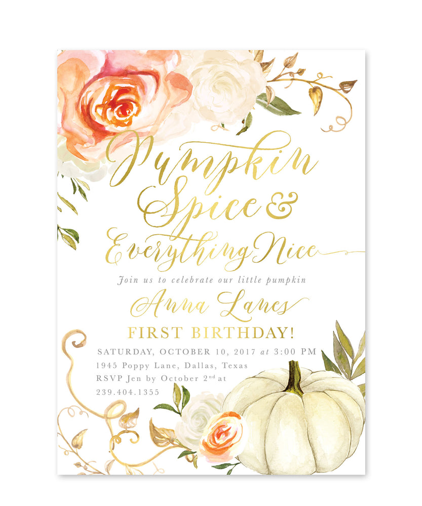 Fall 3: Pumpkin Spice & Everything Nice, Birthday Invitation {orange}