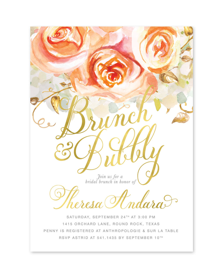 Fall Bridal Shower Invitation: Brunch & Bubbly Autumn Harvest Bridal Shower Invite Orange Peach Roses white gold, Printed Printable - Fall 4