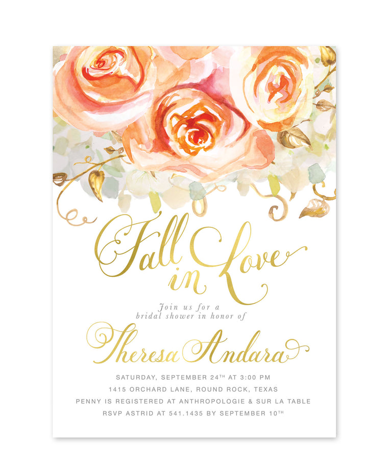 Fall Bridal Shower Invitation: Fall in Love, Autumn Bridal Shower Invite, Orange Peach Roses, white gold, Printed Printable - Design Fall 4